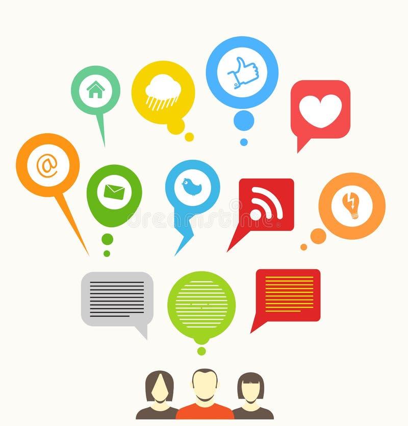 Social media network. Abstract speech bubbles vector illustration