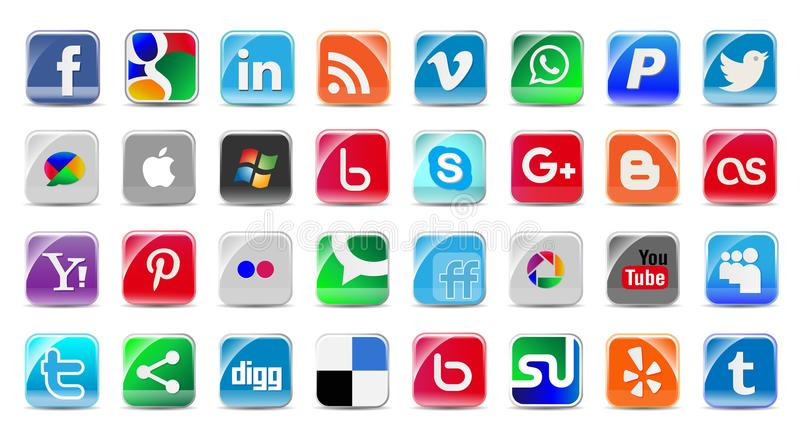 Social Media and network Buttons set stock illustration