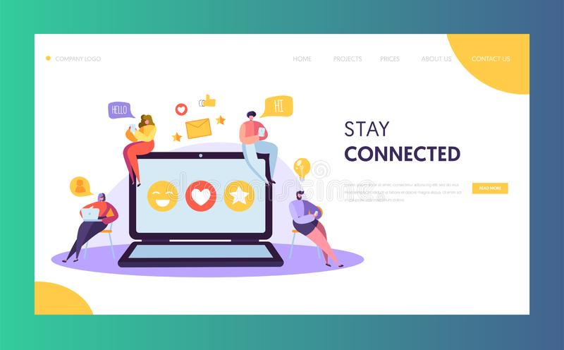 Social Media Network Character Chat Landing Page Design. Man Woman Communication Post. Global Internet Community. Networking Concept for Website or Web Page royalty free illustration