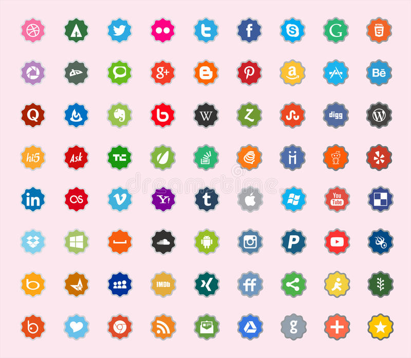 Social media and network color flat icons stock photo