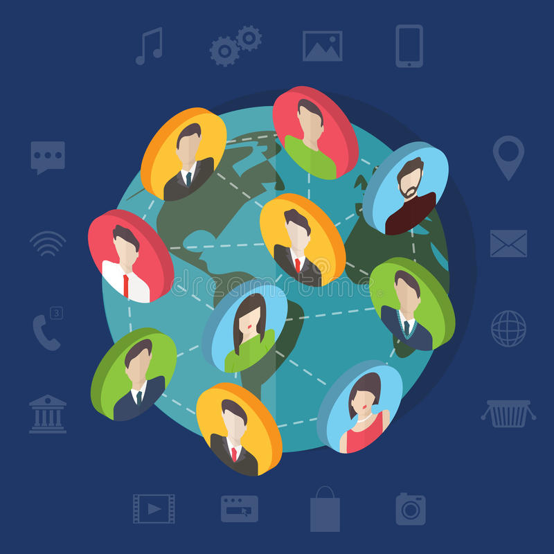 Social media network concept with users. Flat royalty free illustration