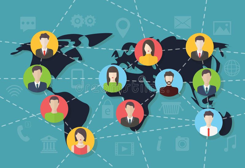 Social media network connection concept, vector. Social media network connection concept with user avatars on the map. Flat design vector with infographic vector illustration