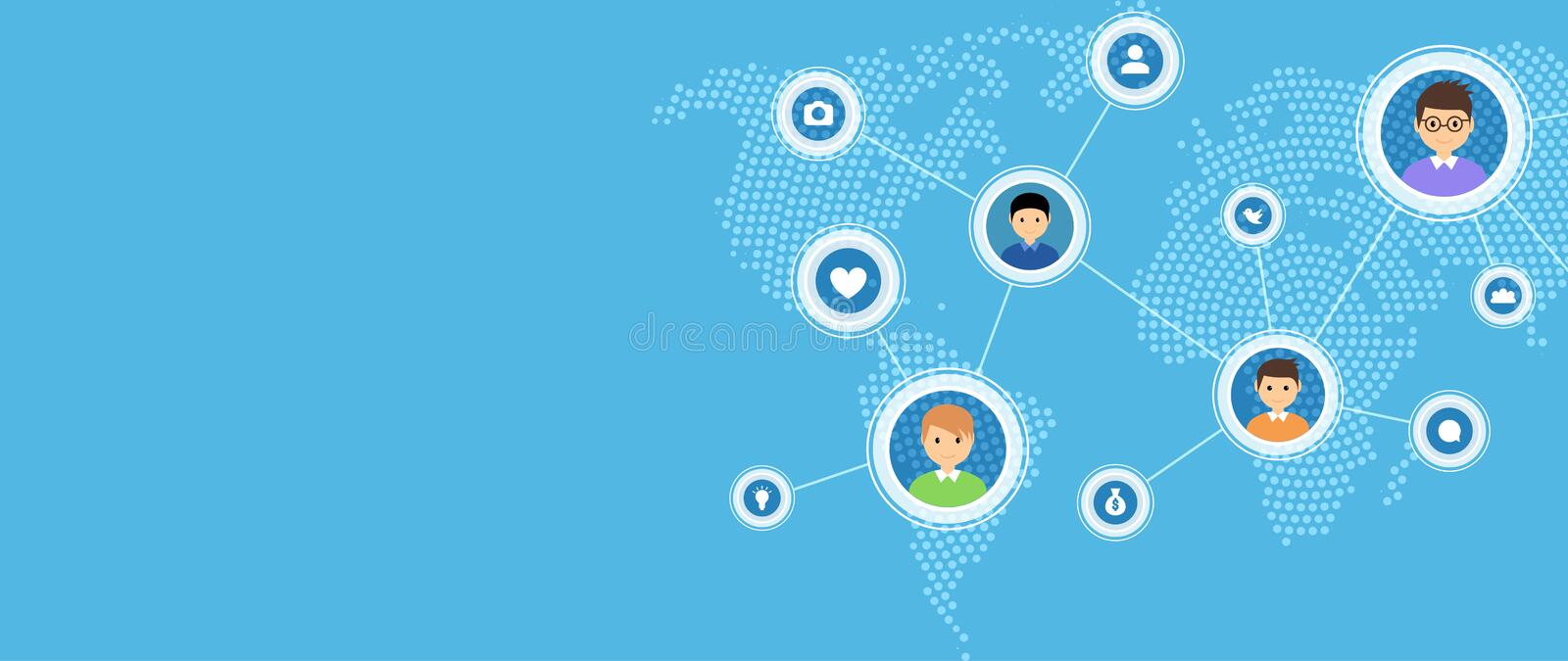 Social media and network connection map concept. World communication people social network illustration.  stock illustration