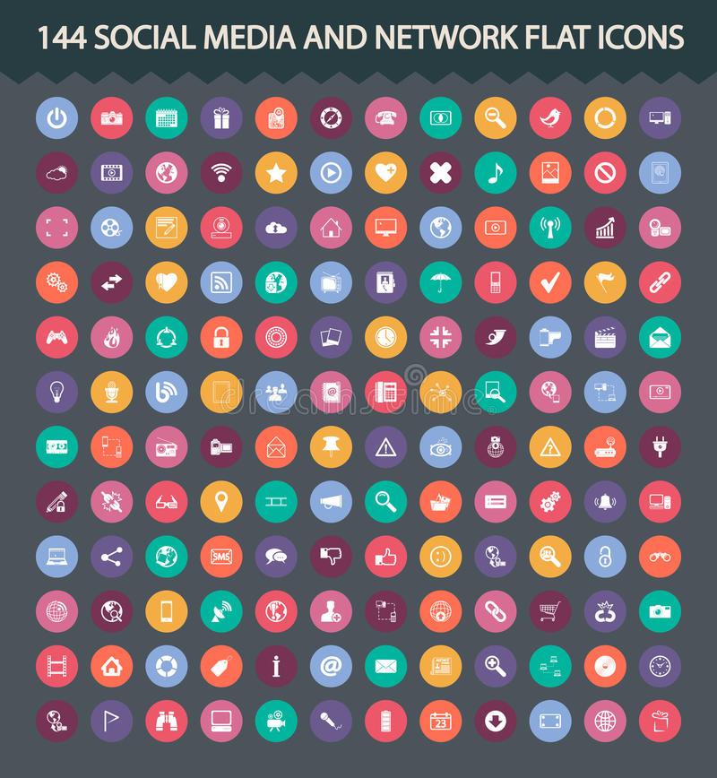 Download Social Media And Network Flat Icons Stock Vector - Image: 33948051