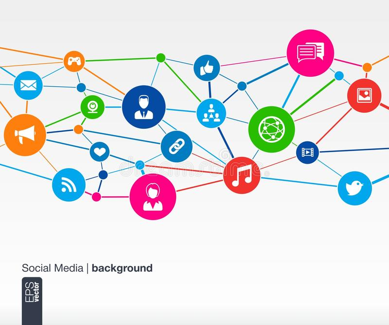 Social media network. Growth background with lines, circles and integrate flat icons. Connected symbols for digital, interactive, market, connect, communicate vector illustration