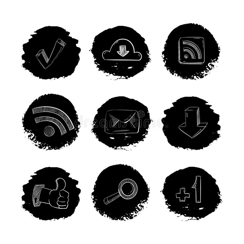 Social media network hand drawn icons set. Isolated in white. Vector illustration royalty free illustration