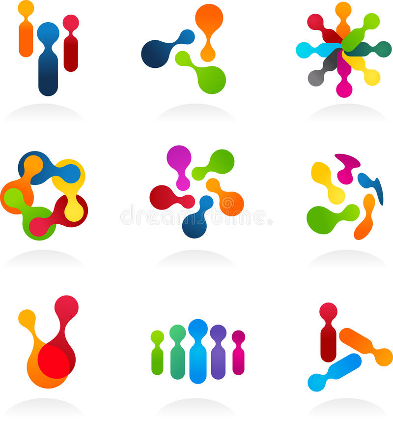 Social Media and network icons, vector set. Collection of social media and network illustration stock illustration