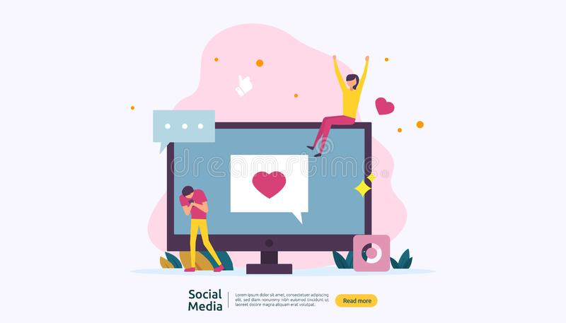 Social Media network and influencer concept with young people character in flat style. illustration template for web landing page. Banner, presentation, social royalty free illustration