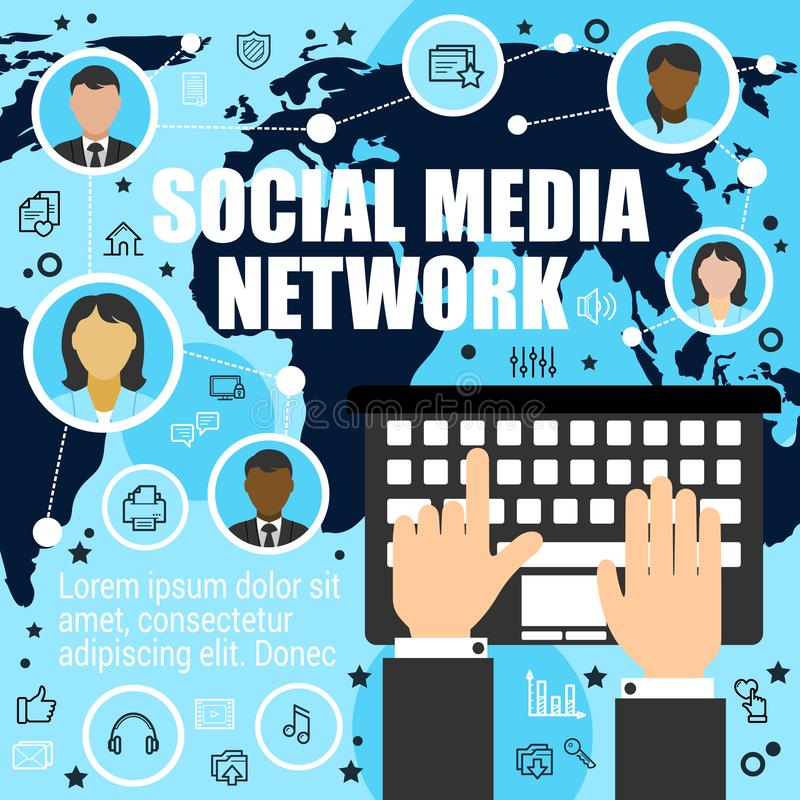 Worldwide socializing by means of media network royalty free illustration