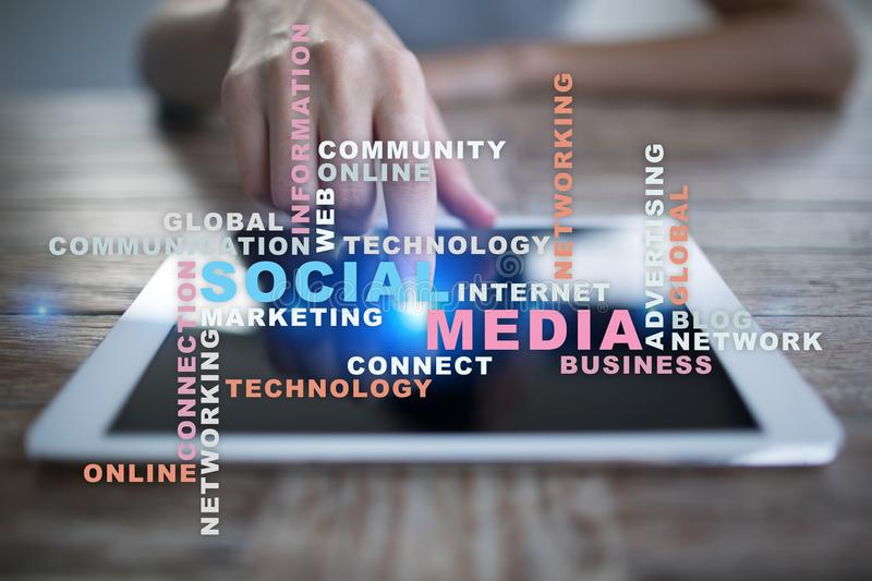 Social media network and marketing. Business, technology concept. Words cloud on virtual screen. stock photography