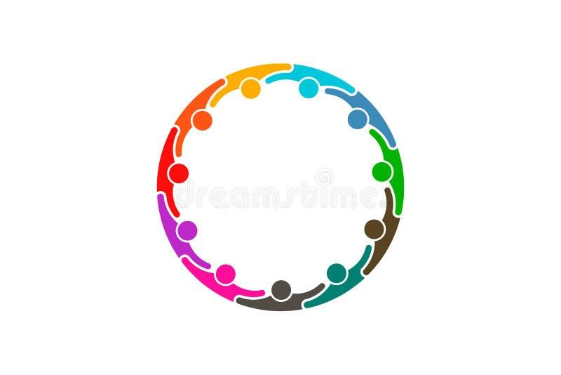 Social media network people logo - Eleven persons. People group together hugging each other. Teamwork concept vector illustration
