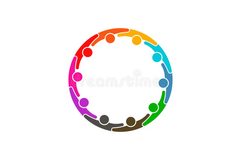 Social media network people logo - Ten persons. People group together hugging each other. Teamwork concept stock illustration