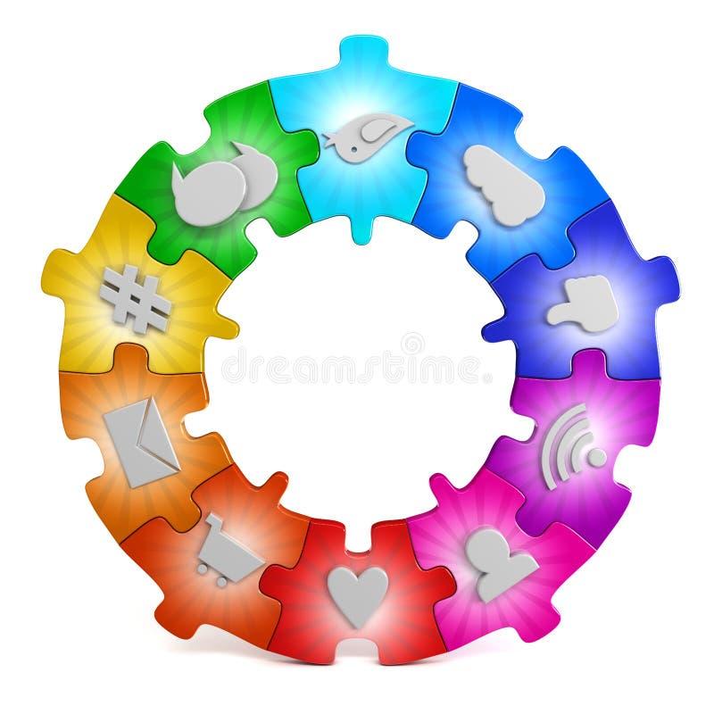 Social media network puzzle. 3d render royalty free illustration