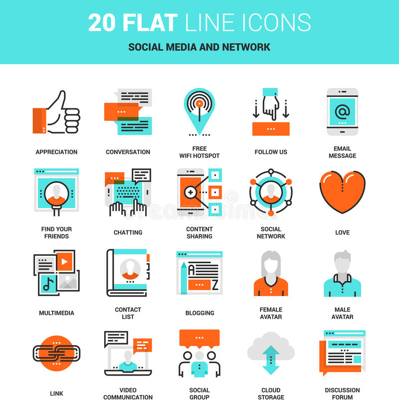 Social Media and Network. Vector set of social media and network flat line web icons. Each icon with adjustable strokes neatly designed on pixel perfect 64X64 royalty free illustration
