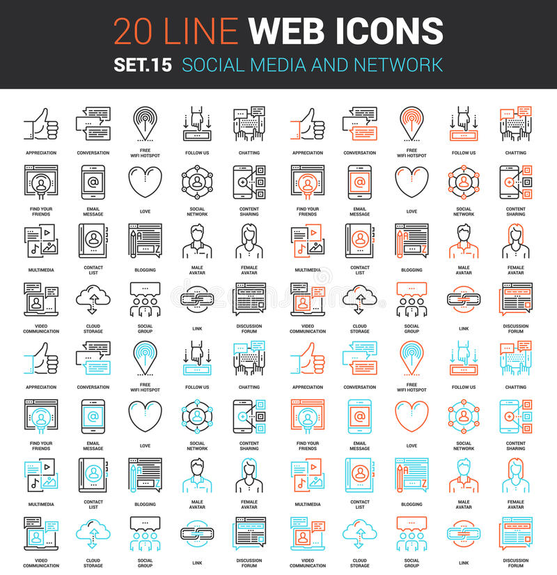 Social Media and Network. Vector set of social media and network line web icons. Each icon with adjustable strokes neatly designed on pixel perfect 64X64 size stock illustration