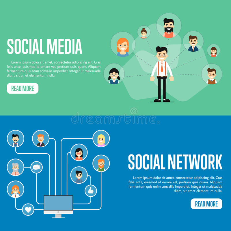 social media network website templates stock vector illustration