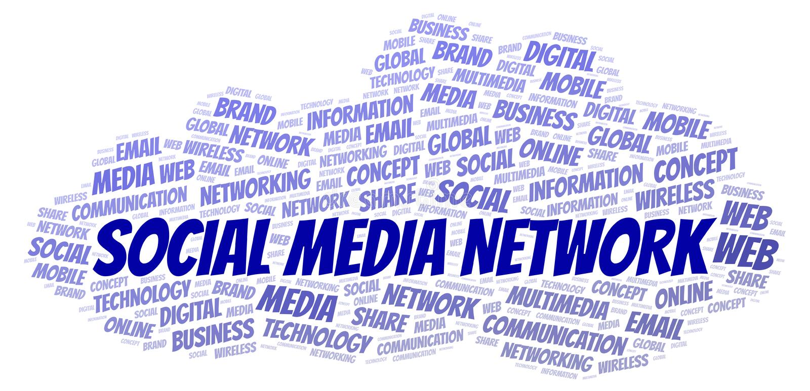 Social Media Network word cloud. Word cloud made with text only royalty free illustration