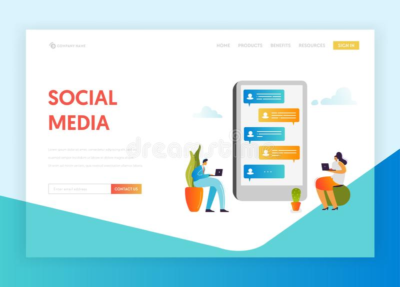 Social Media Networking Communication Concept Landing Page Template. People Characters Chatting in Social Network vector illustration