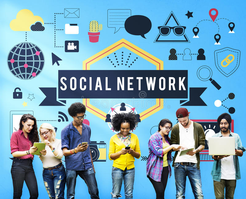 Social Media Networking Connection Communication Concept.  royalty free stock photo