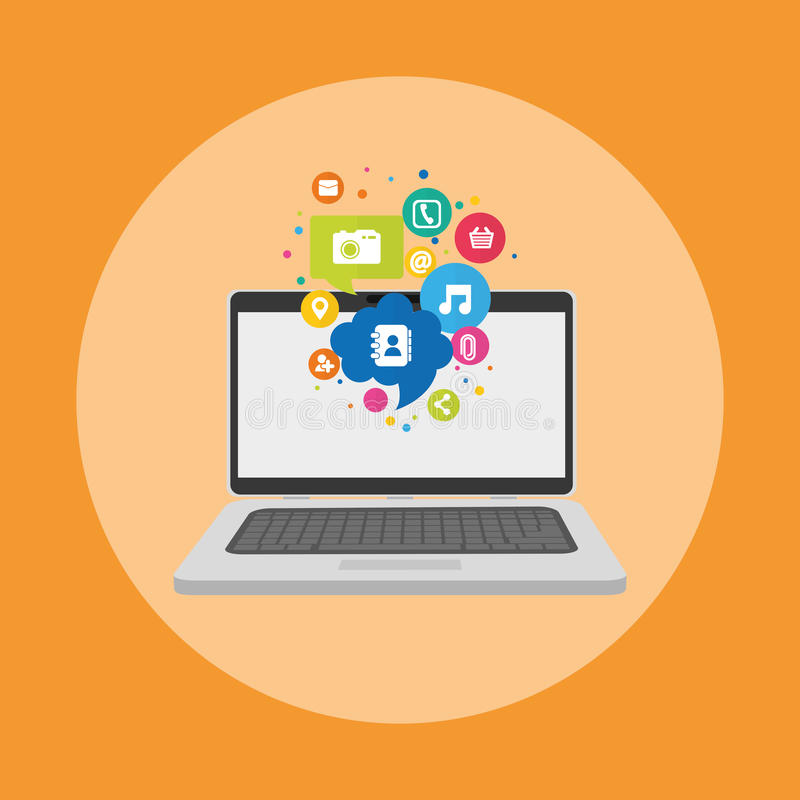 Social media and networking royalty free illustration