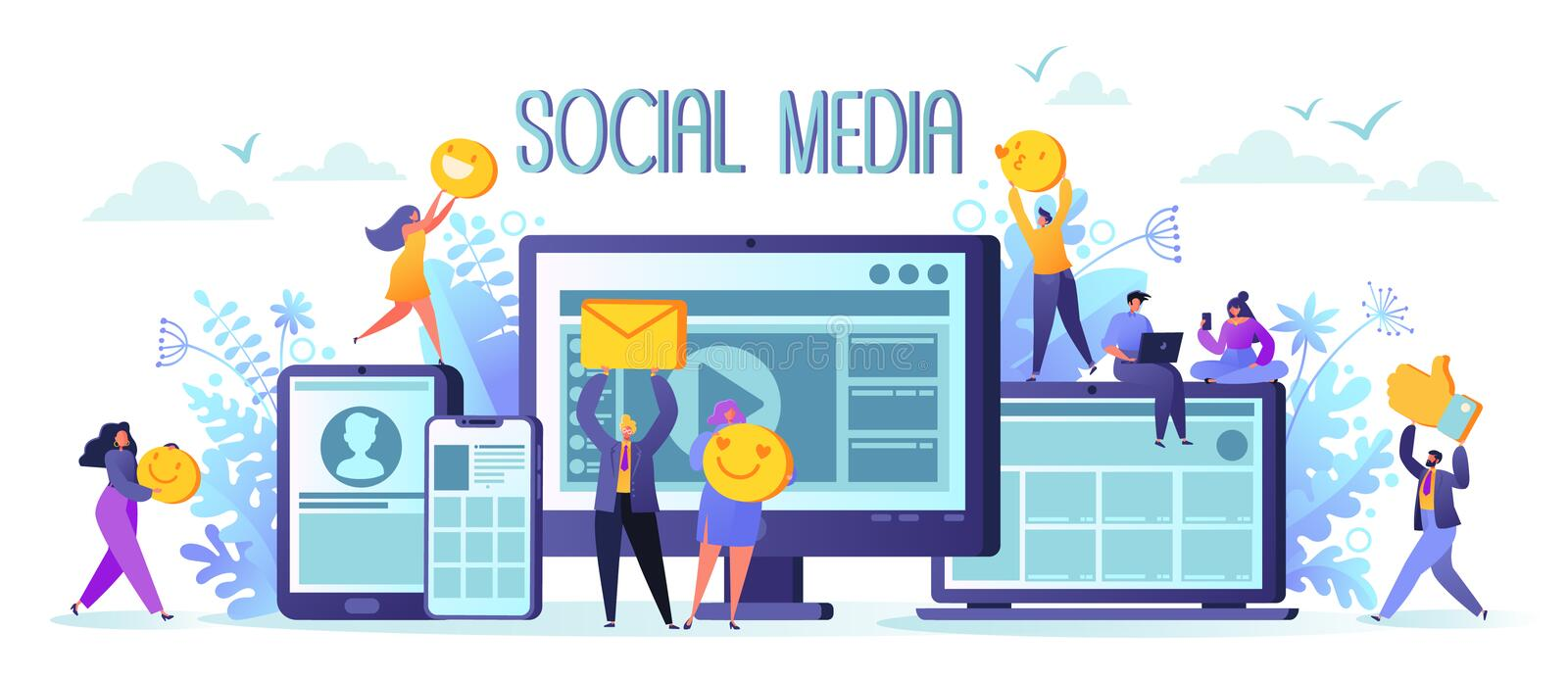 Social media networks concept. Man and woman characters chatting and blogging using mobile devices. Global internet community. Flat design and cartoon style vector illustration