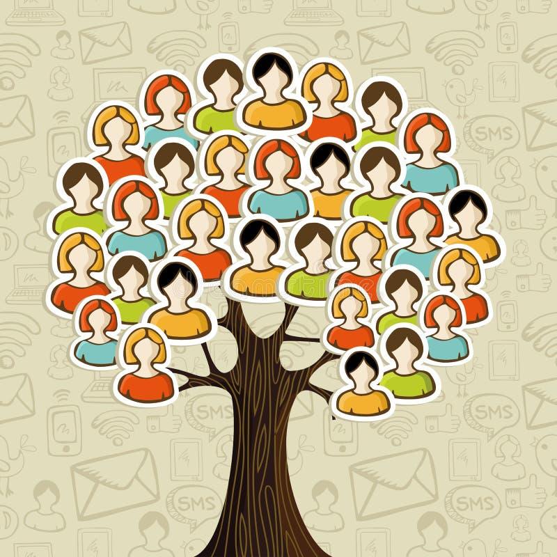 Social media networks tree stock illustration