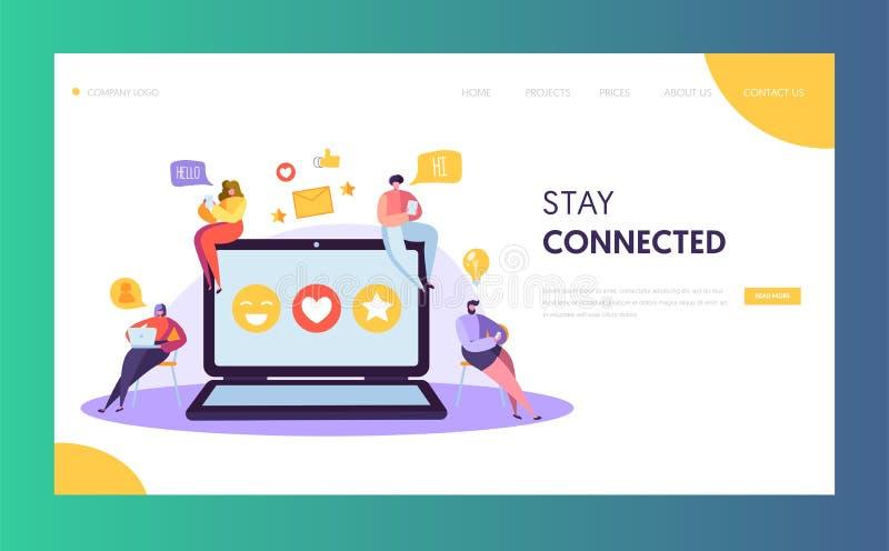 Social Media-Netz-Charakter-Schwätzchen-Landungs-Seiten-Entwurf Mann-Frauen-Kommunikations-Posten-globale Online-Community lizenzfreie abbildung