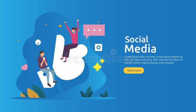 Social Media-Netz und influencer Konzept mit Charakter der jungen Leute in der flachen Art Illustrationsschablone für Netzlandung lizenzfreie abbildung