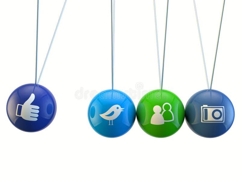 Social media newton cradle royalty free illustration