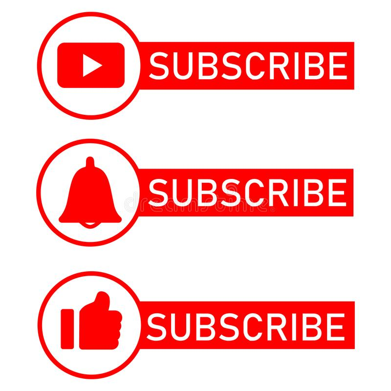 Social media notification icons. Flat design.Subscribe button, message bell icon, like icon button. royalty free illustration