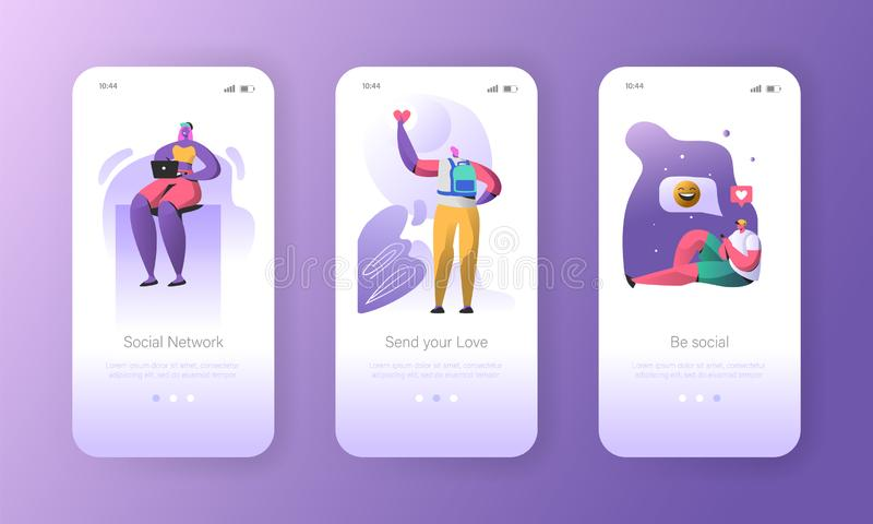 Social media onboarding mobile app screens stock illustration