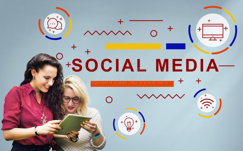 Social Media Online Network Technology Graphic Concept. People Using Social Media Online Network Technology royalty free stock photography