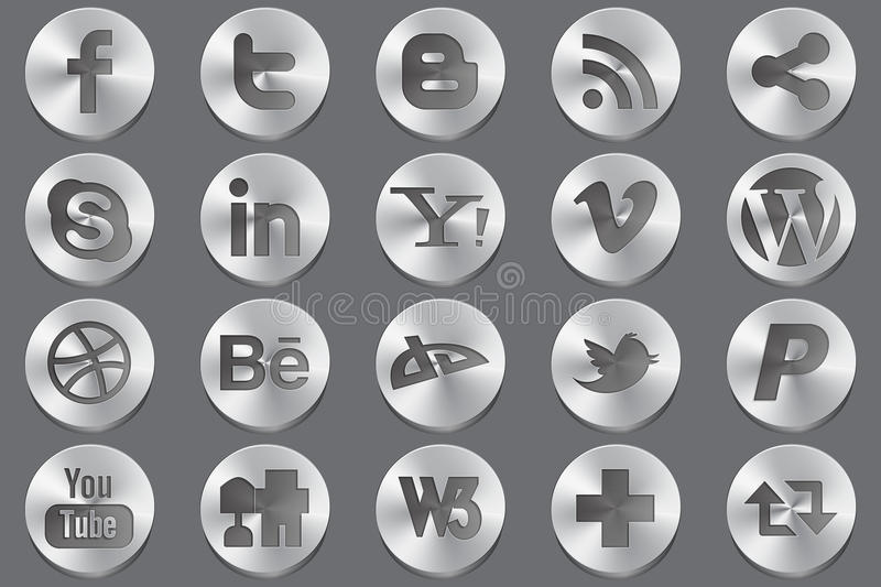Social media oval icons. For most popular services stock illustration