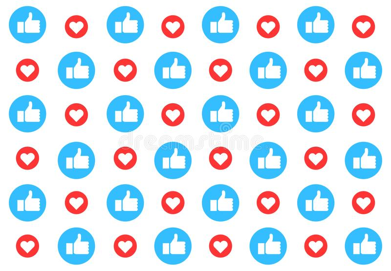 Social media pattern background with likes. Thumbs up and hearts. Vector illustration design vector illustration