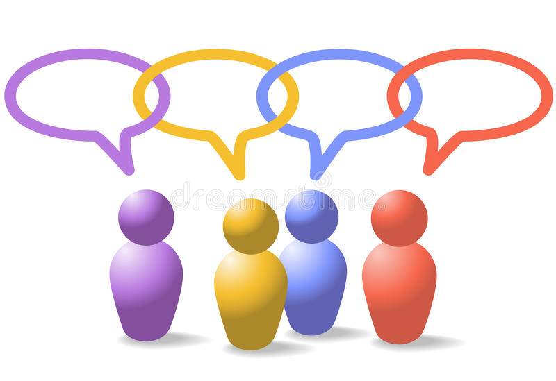 Social media people symbols network link chain. A group of four people symbols talk in social media speech bubbles which form a network link chain royalty free illustration