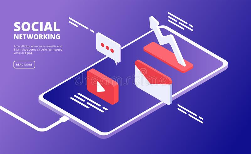 Social media and phone. Internet marketing, like message icons over smartphone. Mobile cloud community vector isometric stock illustration