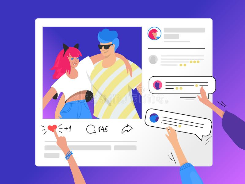 Social media photo rating and commenting. Gradient vector illustration of human hands pushing a heart symbol and commenting photo vector illustration