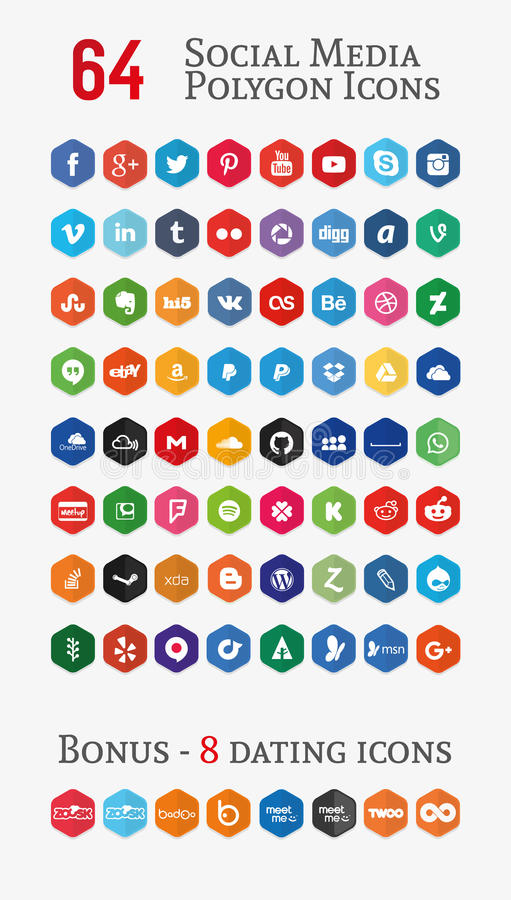Social media polygon Icons (Set 1). 64 social media polygon icons. You can also check other icons sets in my portfolio royalty free illustration