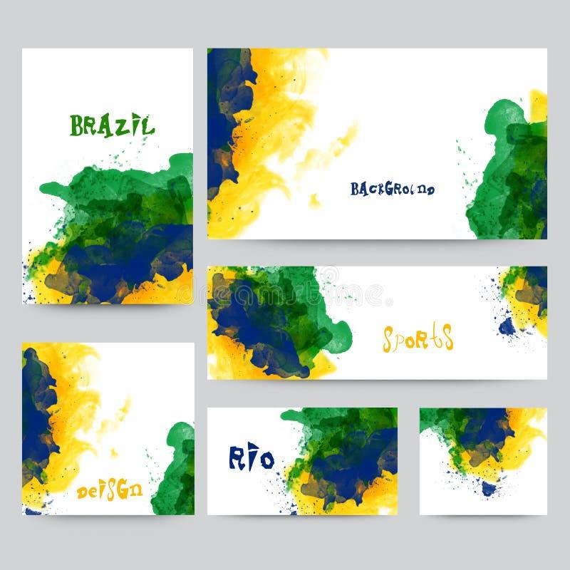 Social Media Post or Banner for Sports concept. Social Media Post, Header or Banner set with Brazilian Flag color splash for Sports concept vector illustration
