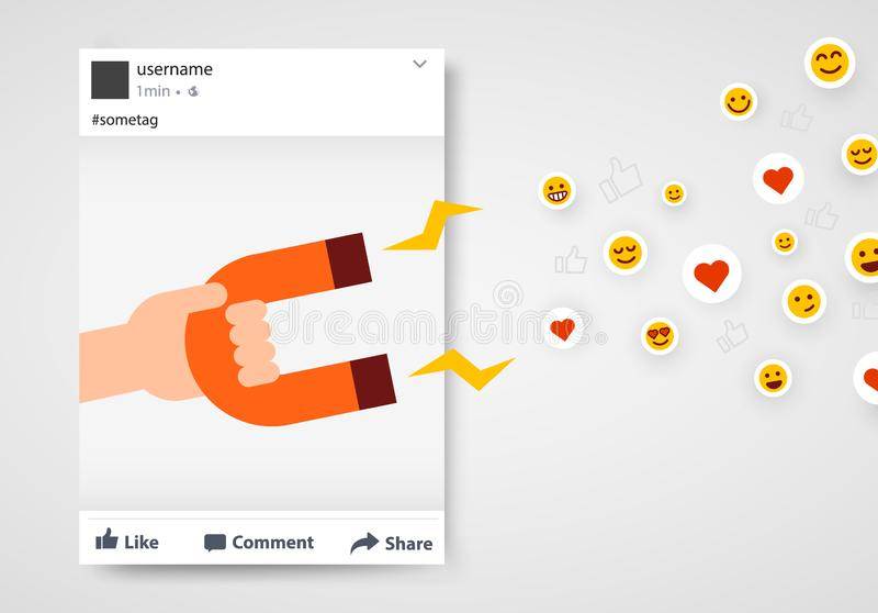 Social media post frame with likes and follower magnet. Internet success concept royalty free illustration