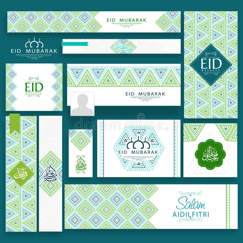 Social media post and header for Eid Mubarak. Beautiful floral design decorated social media post and header set with Arabic calligraphy of text Eid Mubarak and stock illustration