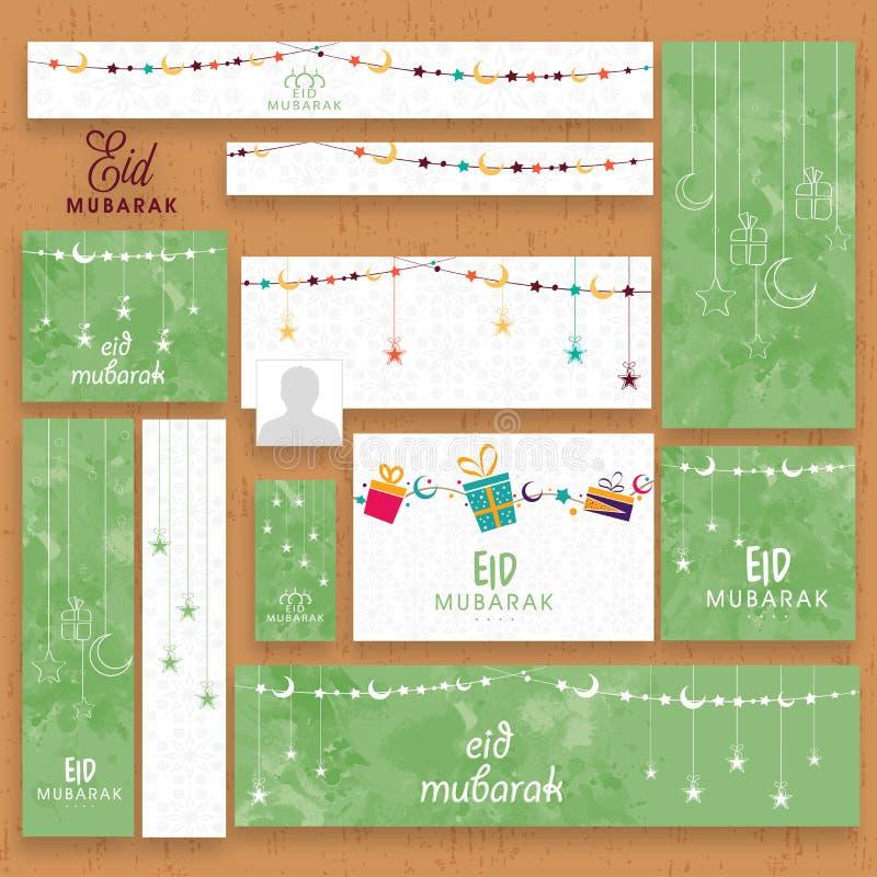 Social media post or header for Eid Mubarak celebration. Stylish social media post, header or banner in green and white color for Muslim community festival, Eid royalty free illustration