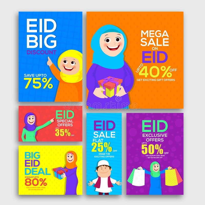 Social Media Post and Header for Eid Sale. royalty free illustration