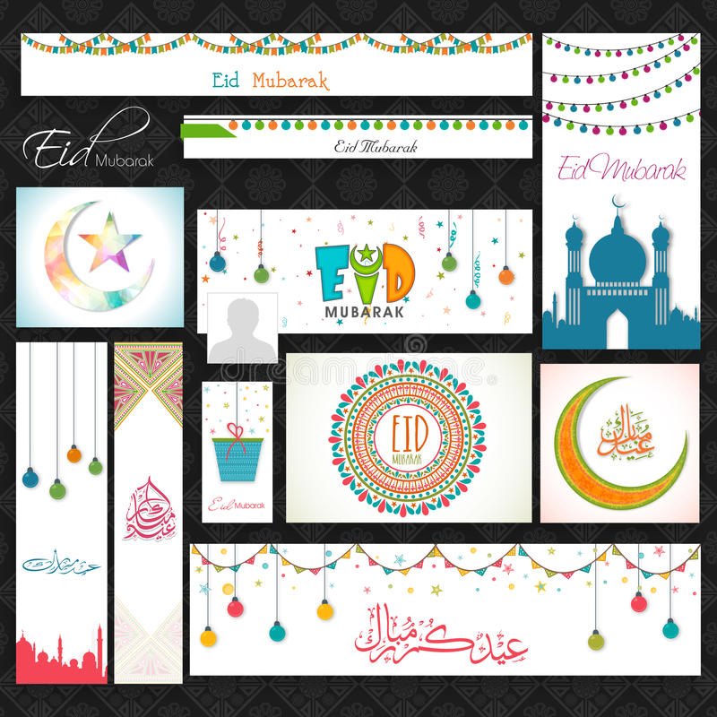 Social media post or header set for Eid Mubarak. Social media post, header or banner set decorated with various beautiful Islamic elements for Muslim community vector illustration