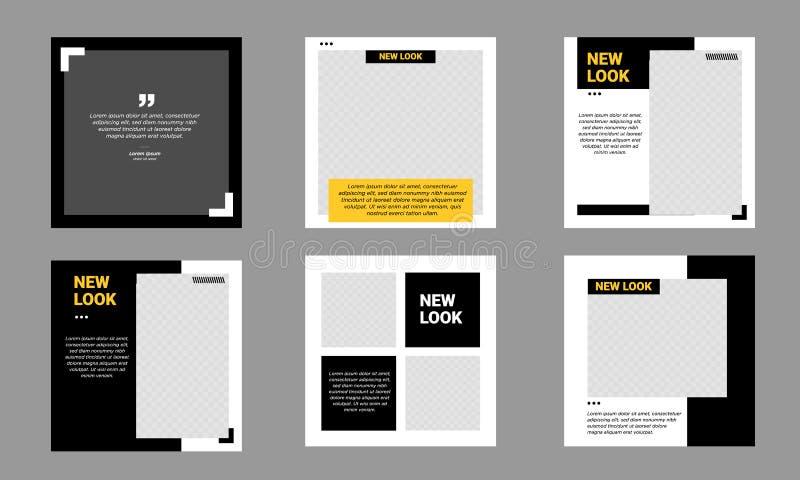 Set of Social Media Post Template Editable minimal banner black and yellow royalty free stock image