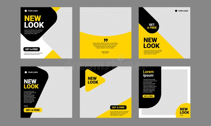 Social media Post Template Yellow editable Banner Square royalty free stock photo