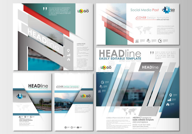 Social Media Posts Set Business Templates Cover Design Abstract - Social media post template