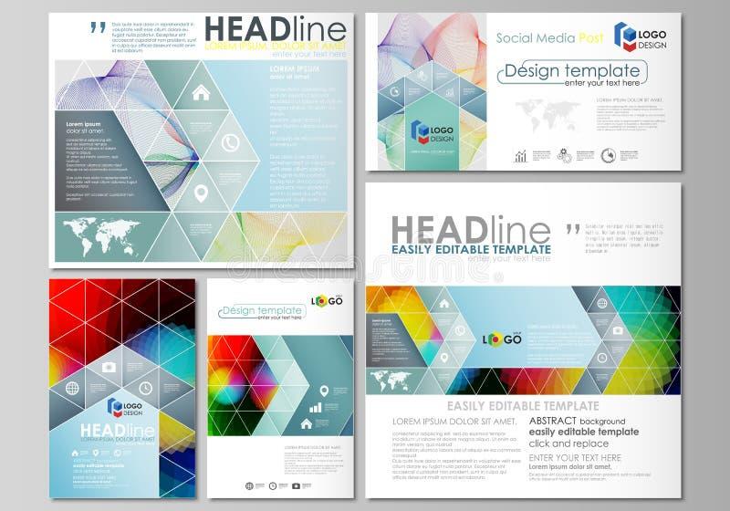 Social media posts set. Business templates. Flat style template, vector layouts. Social media posts set. Business templates. Easy editable abstract flat design stock illustration