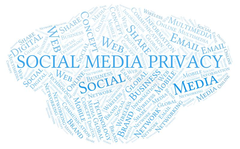 Social Media Privacy word cloud vector illustration