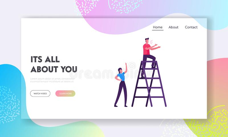 Social Media Promotion Website Landing Page. Business Man on Ladder Call Clients, Woman Stand Downstairs. With Index Finger Rising Up Managing Process Web Page vector illustration